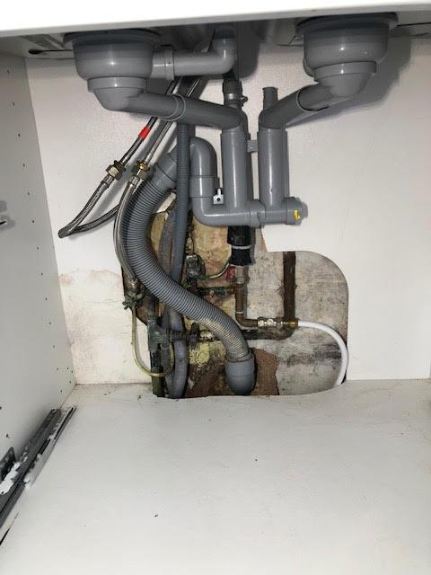 before - Leaking Sink Pipe Repair in Haggerston